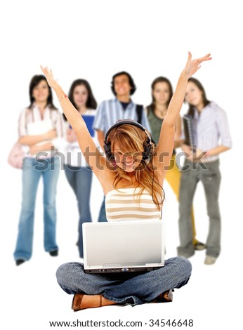 Listen Music Online on Stock Photo   Casual Girl Listening To Music Online And People Behind