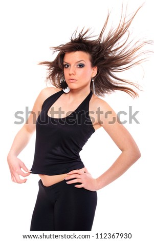 Casual girl posing over white background