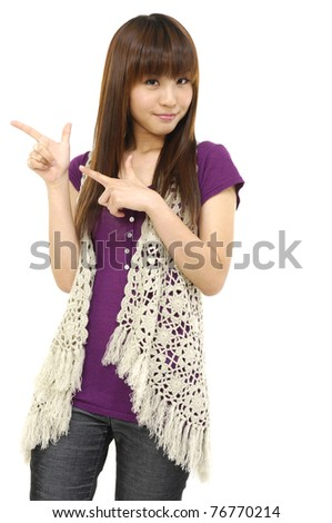 casual girl smiling hand gesture posing isolated