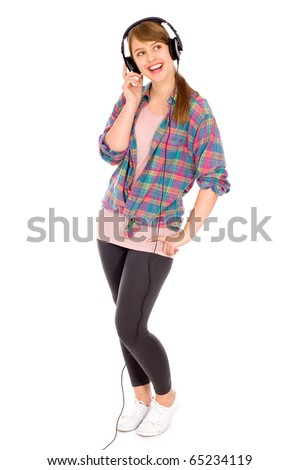 Casual girl wearing headphones