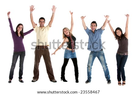 Casual group of excited friends with arms up isolated on white