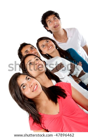Casual group of friends looking up isolated over a white background