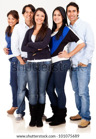 Casual group of friends smiling - isolated over a white background
