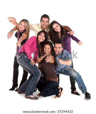 Casual group of friends smiling isolated over white