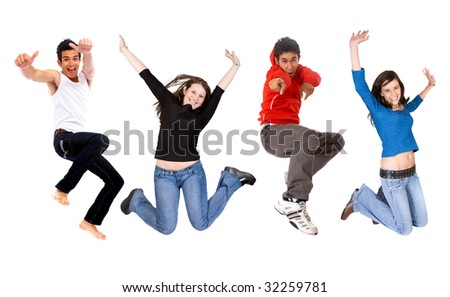 casual group of happy young people jumping isolated over a white background