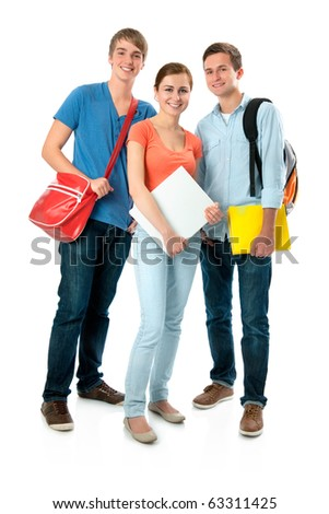 Casual group of high school students smiling