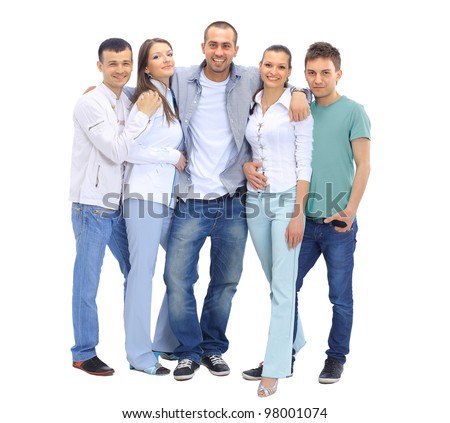 Casual group of people looking happy isolated on white