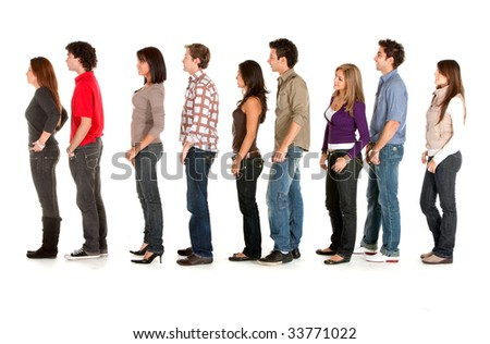 Casual group of people queueing isolated over white