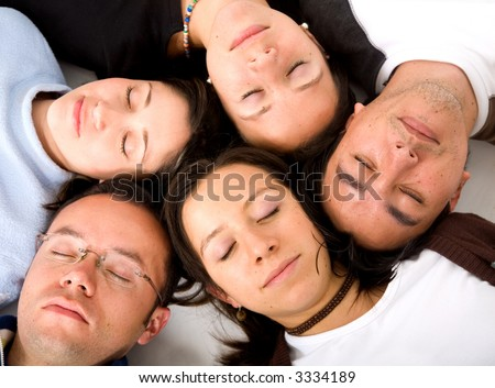 Casual group of people sleeping - isolated over a white background