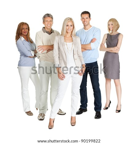 Casual group of people standing isolated over white background