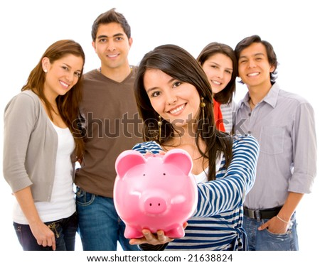 Casual group of people with a piggy bank isolated on white