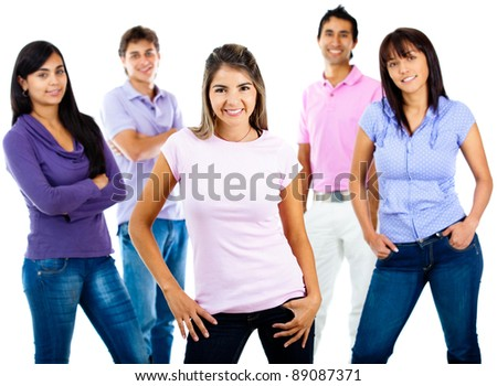 Casual group of young people smiling - isolated over a white background