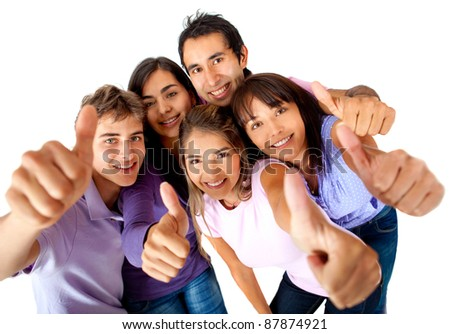 Casual group with thumbs-up - isolated over a white background