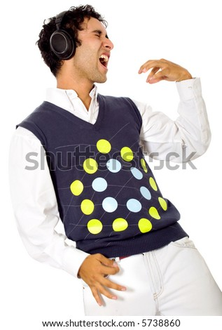 casual guy enjoying the music on his headphones isolated over a white background
