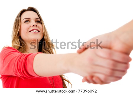 Casual handshake - isolated over a white background