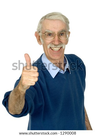 casual happy old man over white