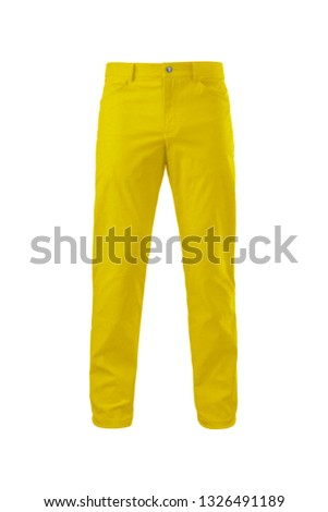 Casual jeans pants isolated on white background. Yellow male denim, cutout. Fashion, style, clothes concept Stockfoto ©