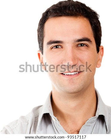 Casual male portrait - isolated over a white background