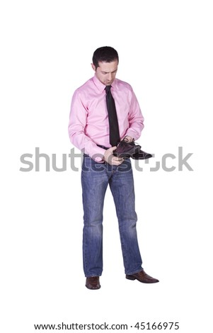 Casual Man Choosing Shoes Getting Ready - Isolated Background