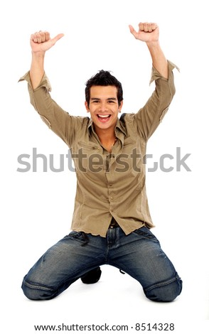 casual man looking very happy with his arms up