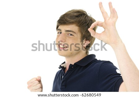 casual man smiling doing the ok sign over a white