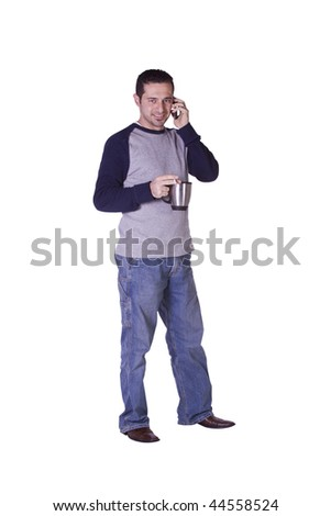 Casual Man Smoking and Drinking Coffee While Talking on the Phone - Isolated Background