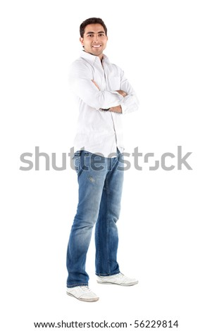 Casual man standing with his arms crossed - isolated over a white background