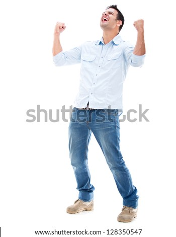 Casual man winning and celebrating - isolated over a white background - stock photo