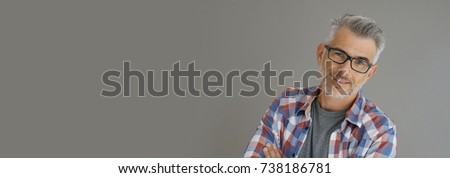 Casual man with grey hair standing on background, isolated- template Stock photo ©