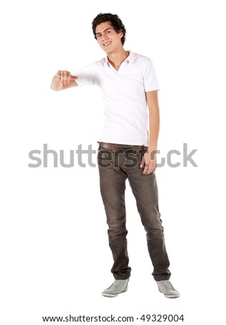 Casual man with his hand on something imaginary isolated over a white background - stock photo
