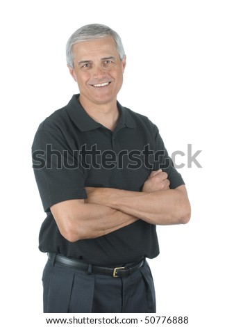 Casual Middle Aged Businessman with Wearing Slack and Golf Shirt with his Arms Folded isolated over white