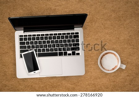 casual office top view on leather background