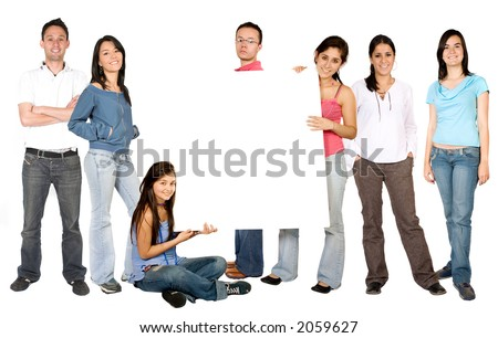 casual people with a white board in the middle over a white background