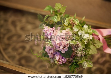 Casual pink wedding bouquet.Life with flowers.