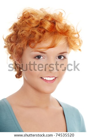 Casual redhead woman portrait, isolated on white