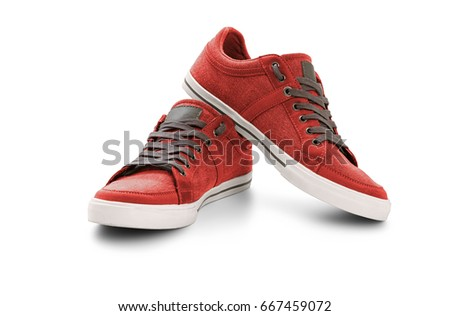 Casual shoes on white background, included clipping path #667459072