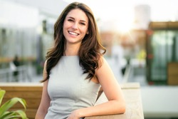 Casual smiling laughing lifestyle of single female, natural look healthy skin and perfect teeth