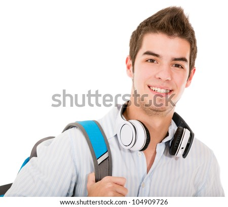 Casual student holding backpack and headphones - isolated over white