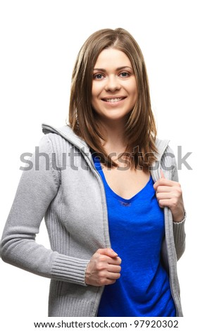 Casual style teenager portrait isolated on white background