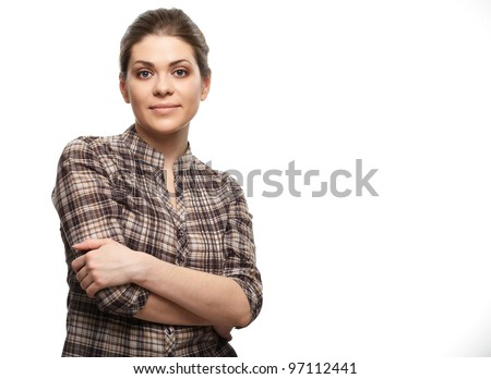 Casual style woman portrait. Isolated over white background