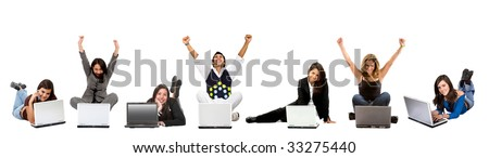 casual successful people on laptop computers isolated