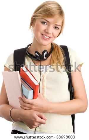 Casual Teenage Girl Preparing To School Holding Books ...
