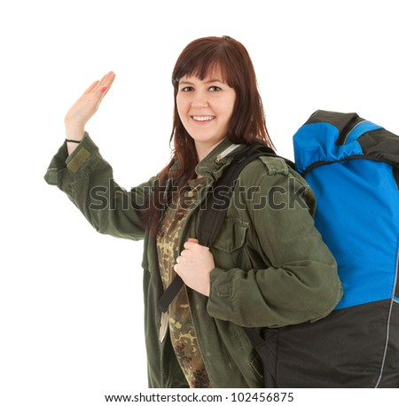 casual tourist girl with backpack, white background