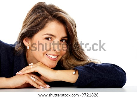casual woman face smiling portrait isolated over a white background