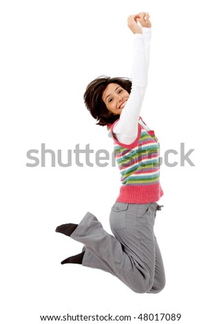 casual woman jumping full of joy isolated over a white background