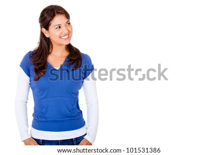 Casual woman looking to the side - isolated over a white background