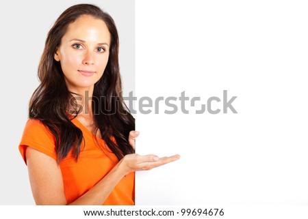 casual woman presenting white board