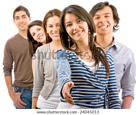 Casual woman ready to handshake with a casual group of people behind her - isolated