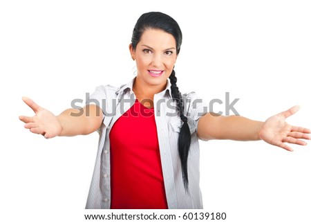 Casual woman with arms open to you invite you to come to her  isolated on white background