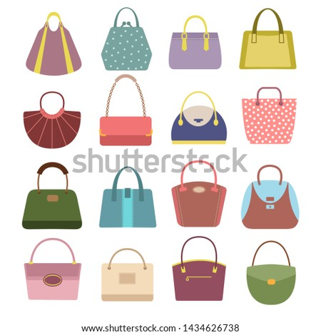 Casual womens leather handbags and purses. Ladies bags icons isolated. Lady handbag, fashion elegance bag illustration